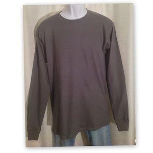 Other - HANES USA Medium Gray BEEFY Long Sleeves Tee Shirt